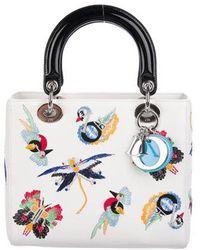 4c3f557d457f Dior - 2016 Medium Embroidered Animals Lady Bag White - Lyst