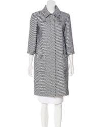 Chanel - 2016 Striped Coat Navy - Lyst
