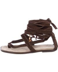 Henry Beguelin - Suede Multistrap Sandals - Lyst