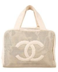 Chanel - Perforated Caviar Leather Bowler Bag Tan - Lyst