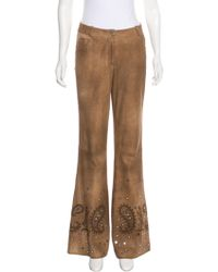 Dior - Suede Mid-rise Pants Brown - Lyst