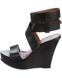 Givenchy - Leather Platform Wedge Sandals - Lyst