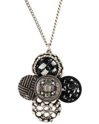 Chanel - Tweed & Crystal Pendant Necklace Silver - Lyst