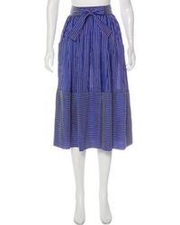 TOME - Silk Striped Midi Skirt - Lyst