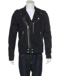 BLK DNM - Leather-trimmed Moto Jacket Navy - Lyst