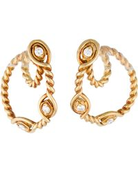 Dior - Diamond Rope Loop Earrings Yellow - Lyst