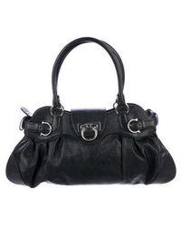 11ffb82aca66 Lyst - Ferragamo Aileen Small Gancio Lock Suede Shoulder Bag in Black