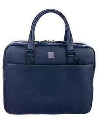 MCM - Johan Leather Briefcase W/ Tags Navy - Lyst