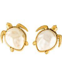 Chanel - Faux Pearl Turtle Clip-on Earrings Gold - Lyst