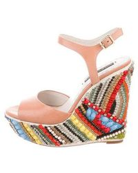 Alice + Olivia - Embellished Wedge Sandals - Lyst