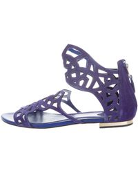 Brian Atwood - Suede Laser Cut Sandals - Lyst
