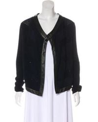 Thakoon - Leather-trimmed Wool Cardigan - Lyst