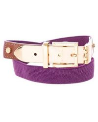 Tory Burch - Leather-trimmed Elasticized Belt Purple - Lyst
