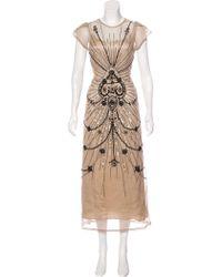 Vineet Bahl - Embellished Maxi Dress Beige - Lyst