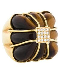 Kara Ross - 18k Tiger's Eye Quartz & Diamond Cocktail Ring Yellow - Lyst