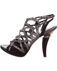 ad9a9892a41 Lyst - Dior Crossover Platform Sandals Blue in Metallic