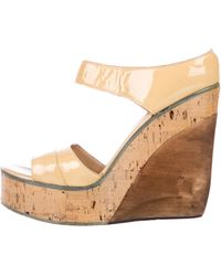 CoSTUME NATIONAL - Patent Leather Wedge Sandals - Lyst