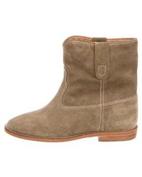 Étoile Isabel Marant - Crisi Suede Ankle Boots W/ Tags Olive - Lyst