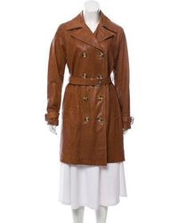 MICHAEL Michael Kors - Michael Kors Double-breasted Leather Coat Tan - Lyst