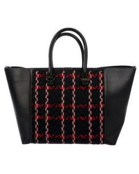 Victoria Beckham - Knit Leather-trimmed Liberty Tote Black - Lyst