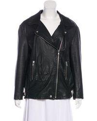 OAK - Long Sleeve Leather Jacket - Lyst