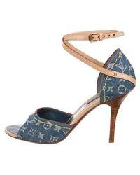 ae026b9031131 Lyst - Louis Vuitton Mules Monogram Denim 36 1 2 23.5 Cm Sandal ...