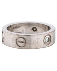 Cartier - 3 Diamond Love Ring White - Lyst
