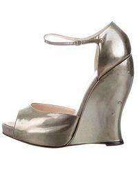 Nina Ricci - Peep-toe Ankle Strap Wedges Grey - Lyst