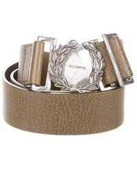 Jil Sander - Leather Buckle Belt Olive - Lyst