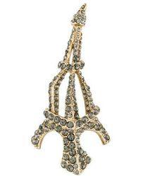 Sonia Rykiel - Crystal Eiffel Tower Brooch Gold - Lyst