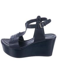 CoSTUME NATIONAL - Perforated Leather Wedge Sandals - Lyst