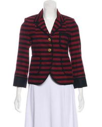 Smythe - Striped Virgin Wool Blazer Red - Lyst