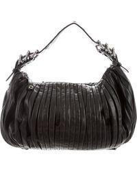 Miu Miu - Miu Pleated Leather Hobo Black - Lyst