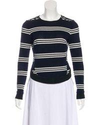 Veronica Beard - Striped Knit Sweater Navy - Lyst