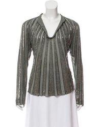 9b5d8ddbc1d34 Tory Burch - Silk Embellished Top W  Tags Grey - Lyst