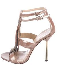 B Brian Atwood - Embellished Sandals Brown - Lyst