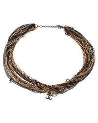 Chanel - Multistrand Cc Necklace Gold - Lyst