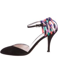 b14823c8d18 Lyst - Chanel Suede Pointed-toe Pumps Black in Metallic