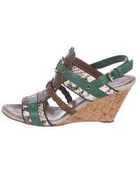 Proenza Schouler - Leather Wedge Sandals Green - Lyst