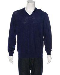 Love Moschino - Wool V-neck Sweater Navy - Lyst