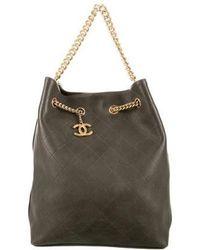 d63809ef7e2a02 Lyst - Chanel Lambskin Camera Bag Olive in Metallic