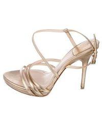 7d85ac203d3 Lyst - Dior Satin Embellished Sandals Grey in Metallic