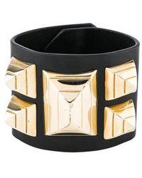 Givenchy - Leather Studded Wrap Bracelet Gold - Lyst