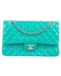 Chanel - Classic Medium Double Flap Bag Green - Lyst