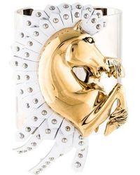 Roberto Cavalli - Arion Leather Cuff Gold - Lyst