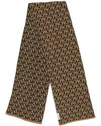 MICHAEL Michael Kors - Michael Kors Monogram Fine Knit Scarf Beige - Lyst