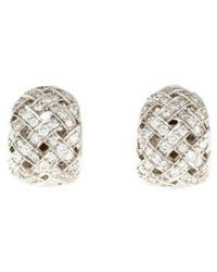 Tiffany & Co. - Platinum Diamond Vannerie Clip-on Earrings - Lyst