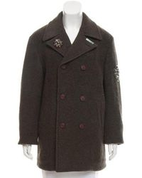 Etro - Double-breasted Wool Coat W/ Tags Olive - Lyst