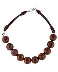 Brunello Cucinelli - Jasper & Leather Bead Strand Necklace Silver - Lyst