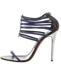 Prabal Gurung - Embossed Leather Multistrap Sandals Blue - Lyst